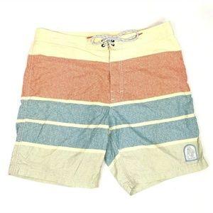 Katin Custom Surf Trunk Yellow Stripe Board Shorts